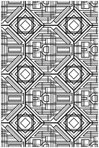 coloring art deco complex pattern
