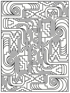 coloring art deco simple pattern