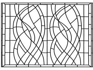 Art Deco Window from an Hotel in Madrid transformed into a coloring page
