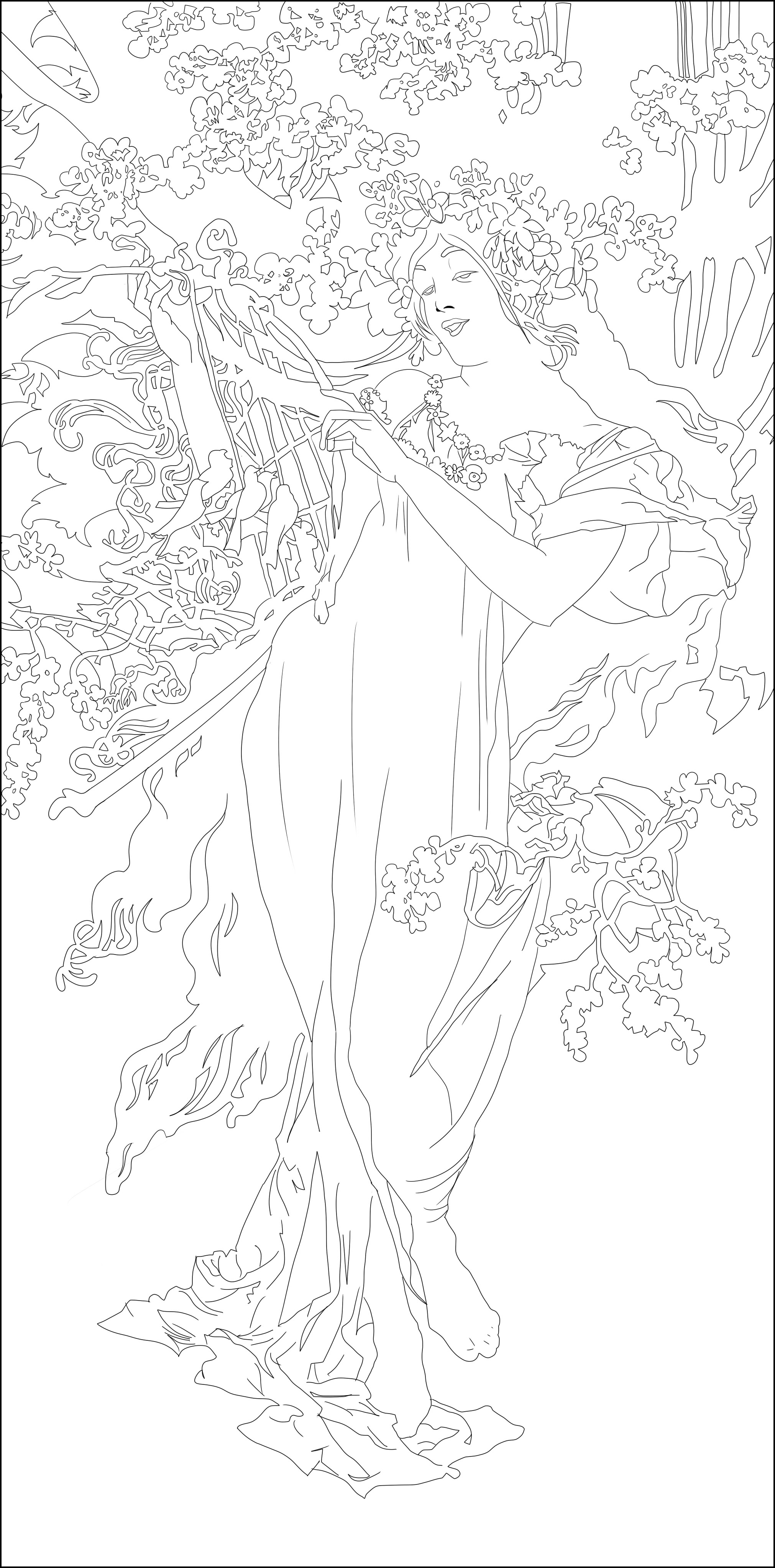 Printemps Art Nouveau Adult Coloring