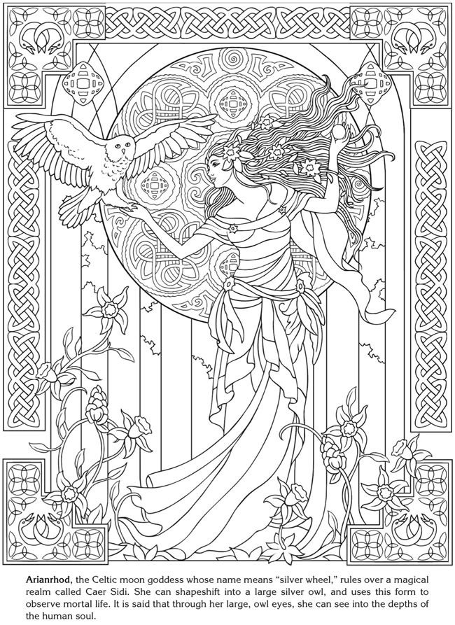 Arianrhod celtic goddess - Art Nouveau Adult Coloring Pages