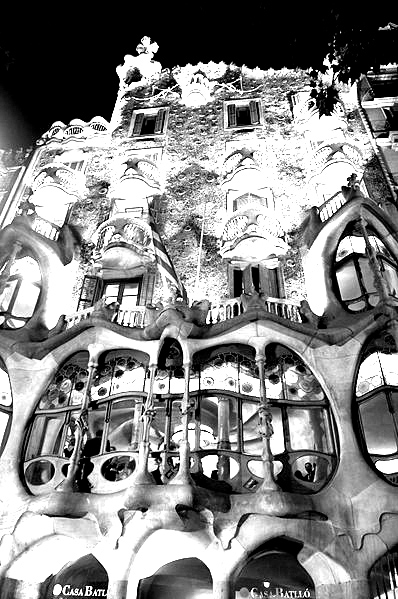 An Original Coloring Page Made With A Black U0026 White Picture Of The Casa  Batllo Antoni