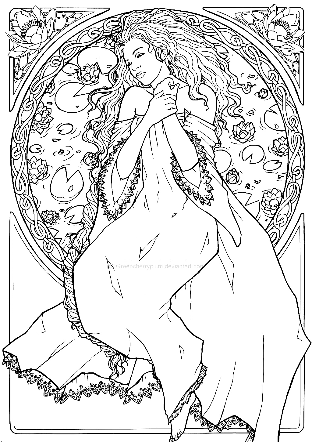 A beautiful drawing inspired by Art Nouveau, with a woman and flowers