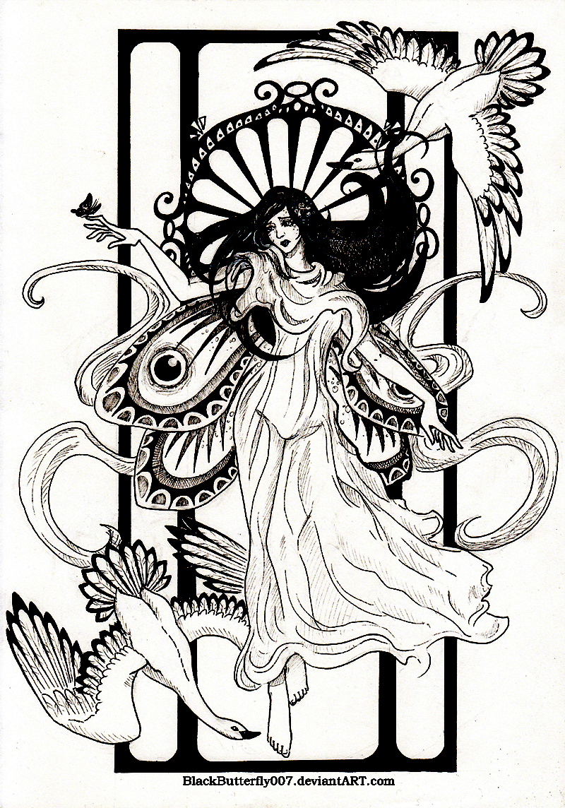 A magnificient drawing inspired by Art Nouveau style