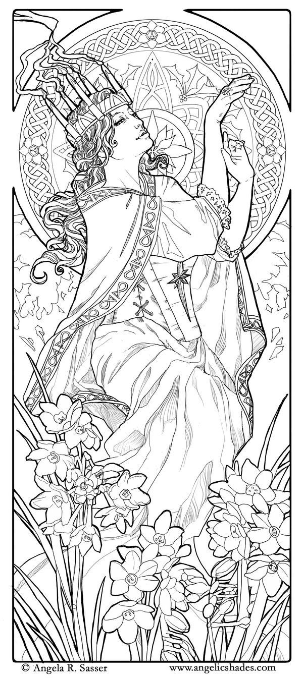 Coloring pages woman - Coloring Adult Woman Art Nouveau Style Free To Print
