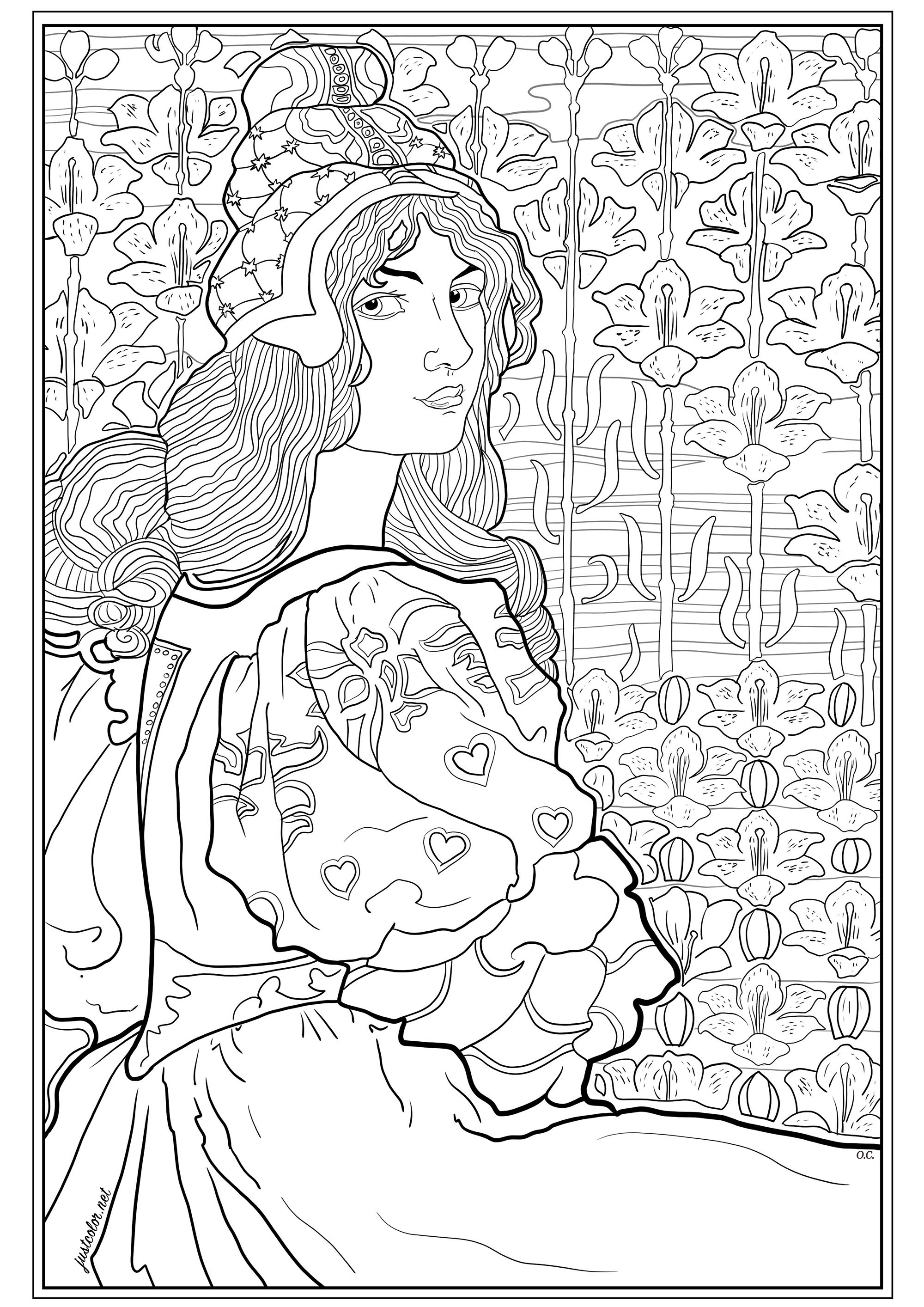 Coloring page created from an original lithograph by Louis Rhead (1898) , edited for 'L'Estampe Moderne' (19th century French newspaper). This illustration represents Jane, a young woman with long hair, on a background of stylized lilies.