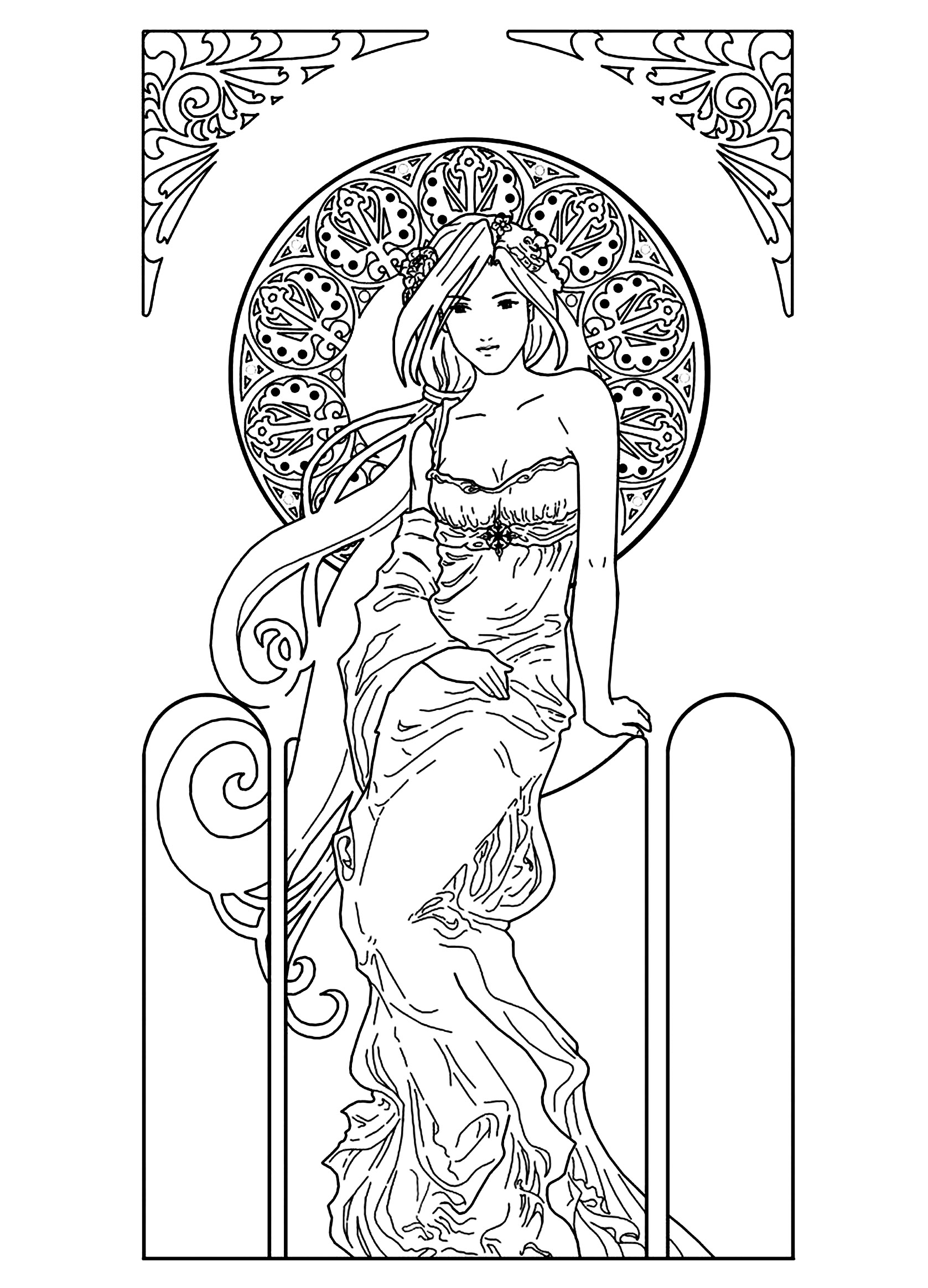 Coloring pages woman - Coloring Drawing Woman Inspiration Art Nouveau Free To Print