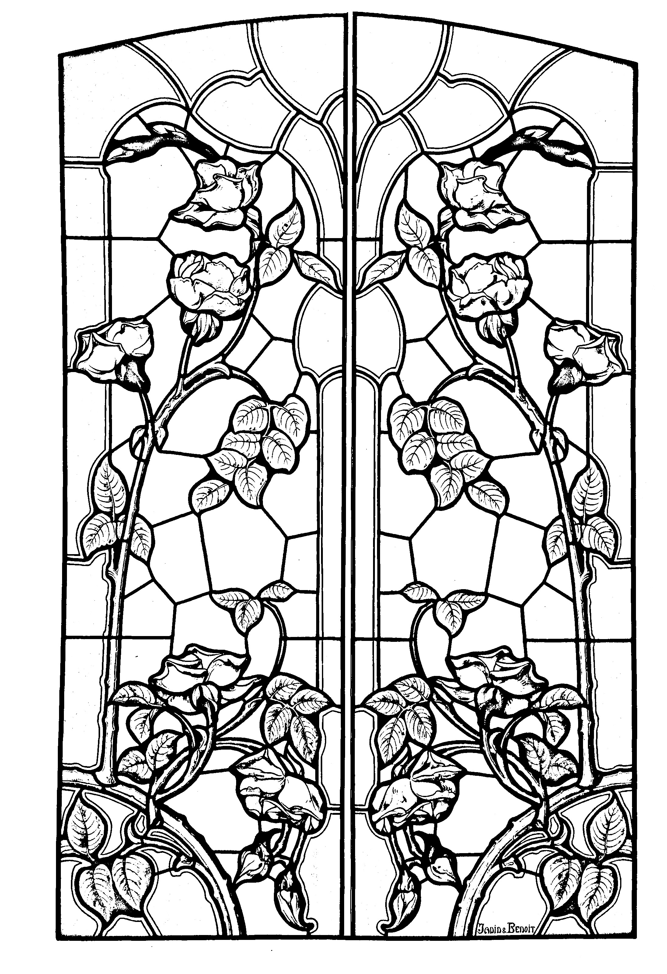 stained glass drawing art nouveau style