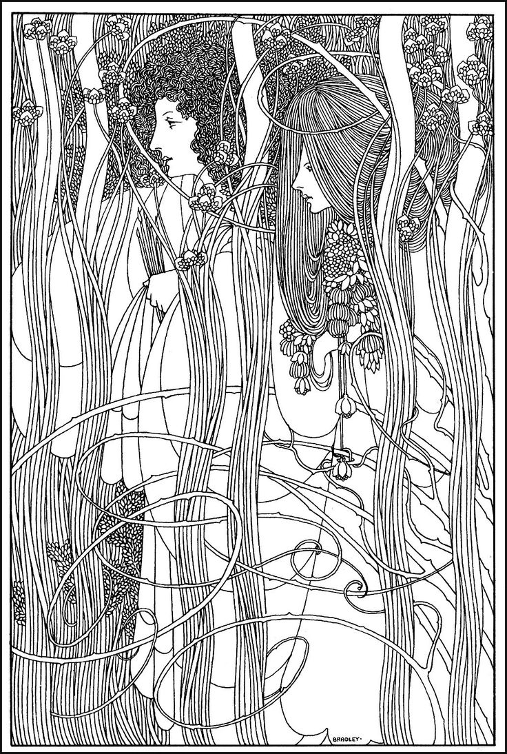 Women in forest : Coloring page inspired by a drawing by American artist William Bradley