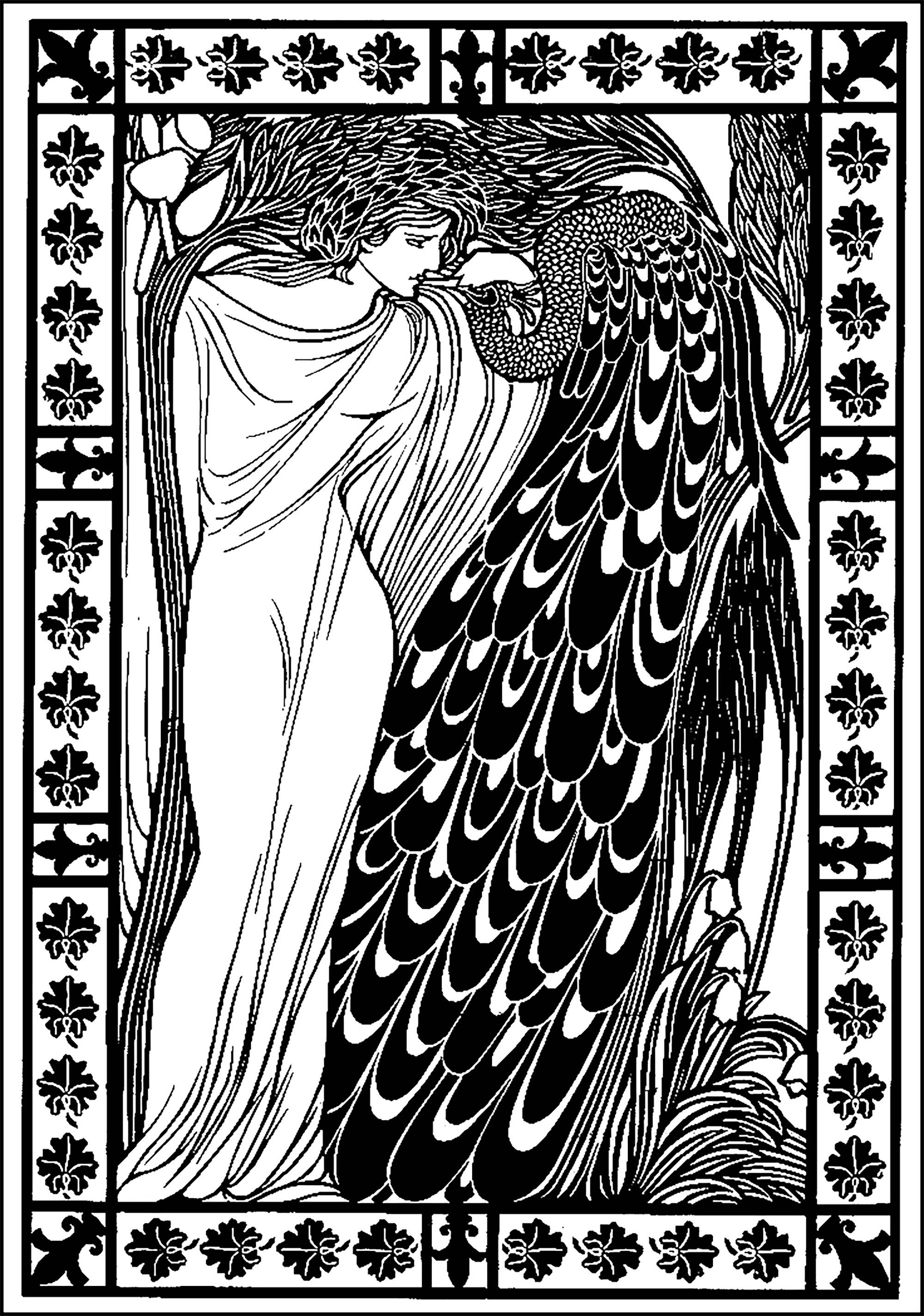 Woman and peacock : Coloring page inspired by a drawing by American artist William Bradley