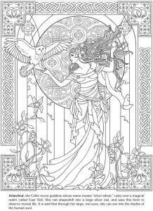 coloring adult arianrhod celtic goddess
