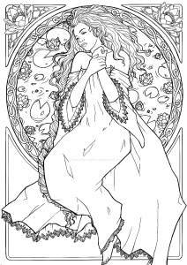 Coloring adult dessin inspiration art nouveau 2