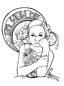 Coloring adult inspiration art nouveau