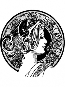 Coloring adult visage art nouveau