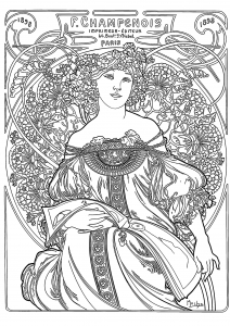 "Alfons Mucha : ""F. Champenois Imprimeur Editeur Paris"" Poster"