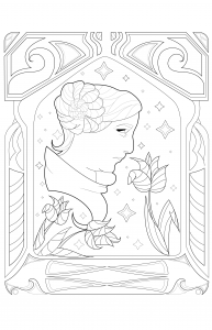 coloring page adult Princess Leia by Juline