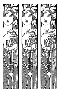 coloring page adult mucha triptych
