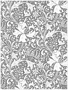coloring page art nouveau J H Dearles Golden Lily 1899