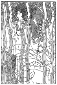 coloring will bradley art nouveau women