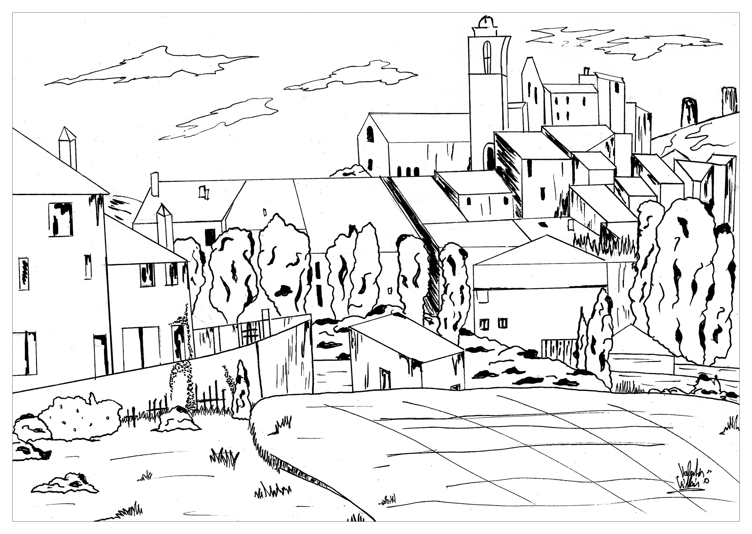 Coloring page inspired by a painting by Paul Cézanne, Gardanne