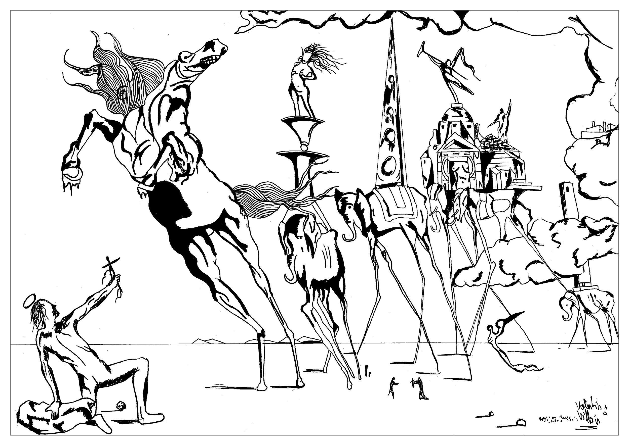 coloring page inspired by the painting the temptation of saint anthony by salvador dali