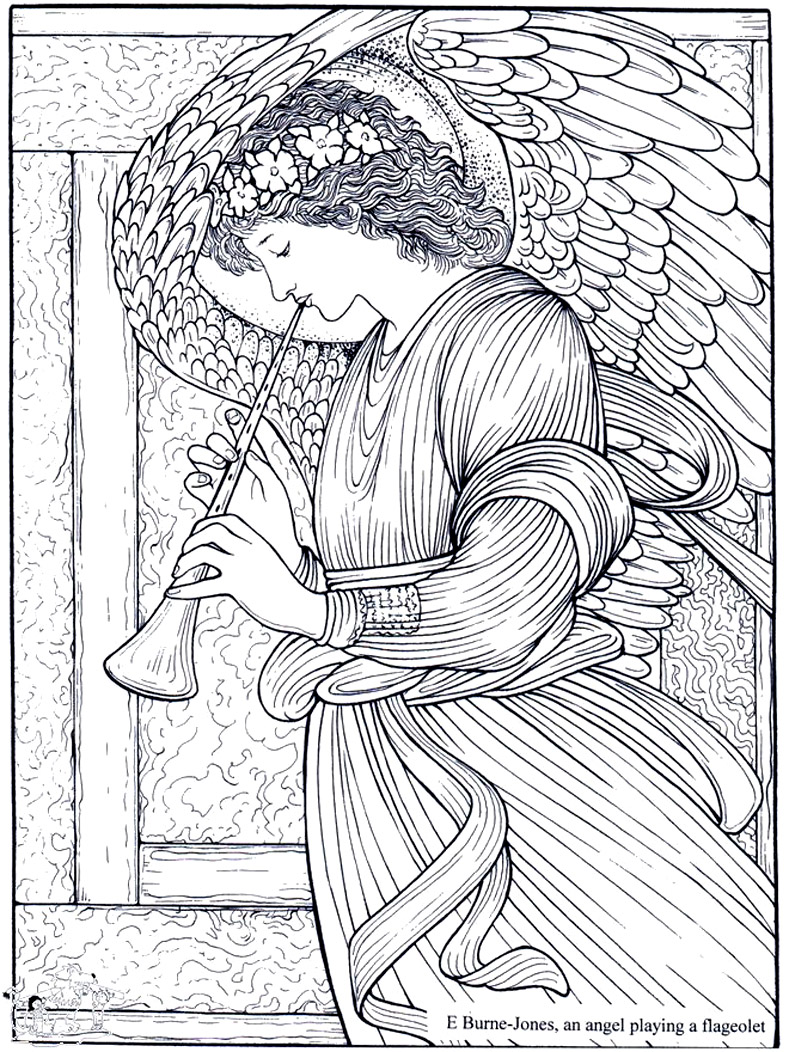 Coloring adult burne jones an angel playing a flageolet