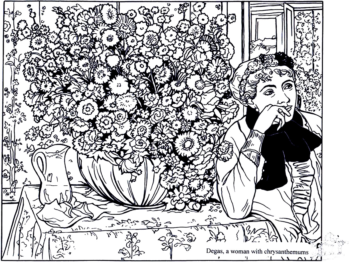 Degas woman with chrysanthemums - Masterpieces Adult Coloring Pages