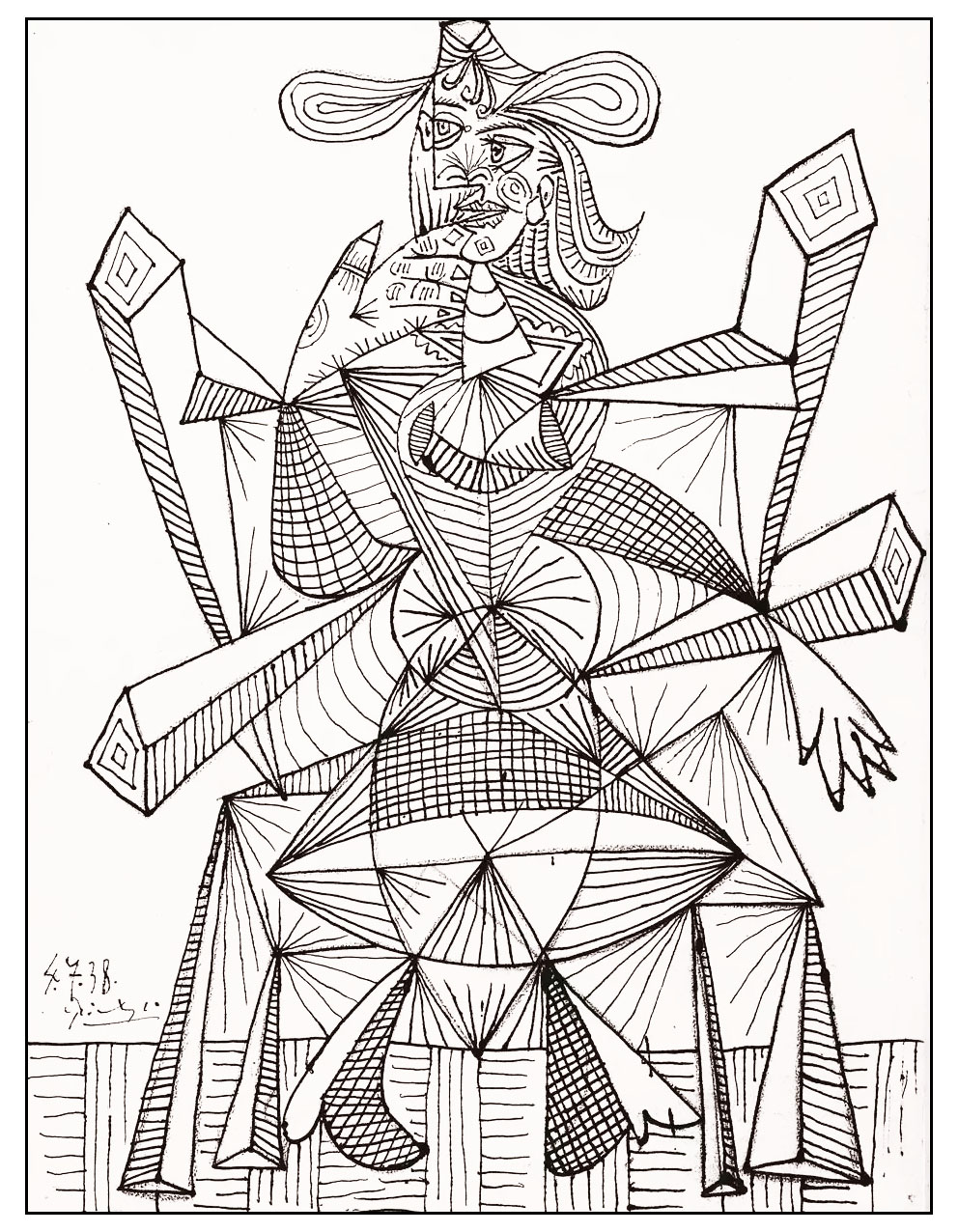 Coloring adult drawing by picasso 1938