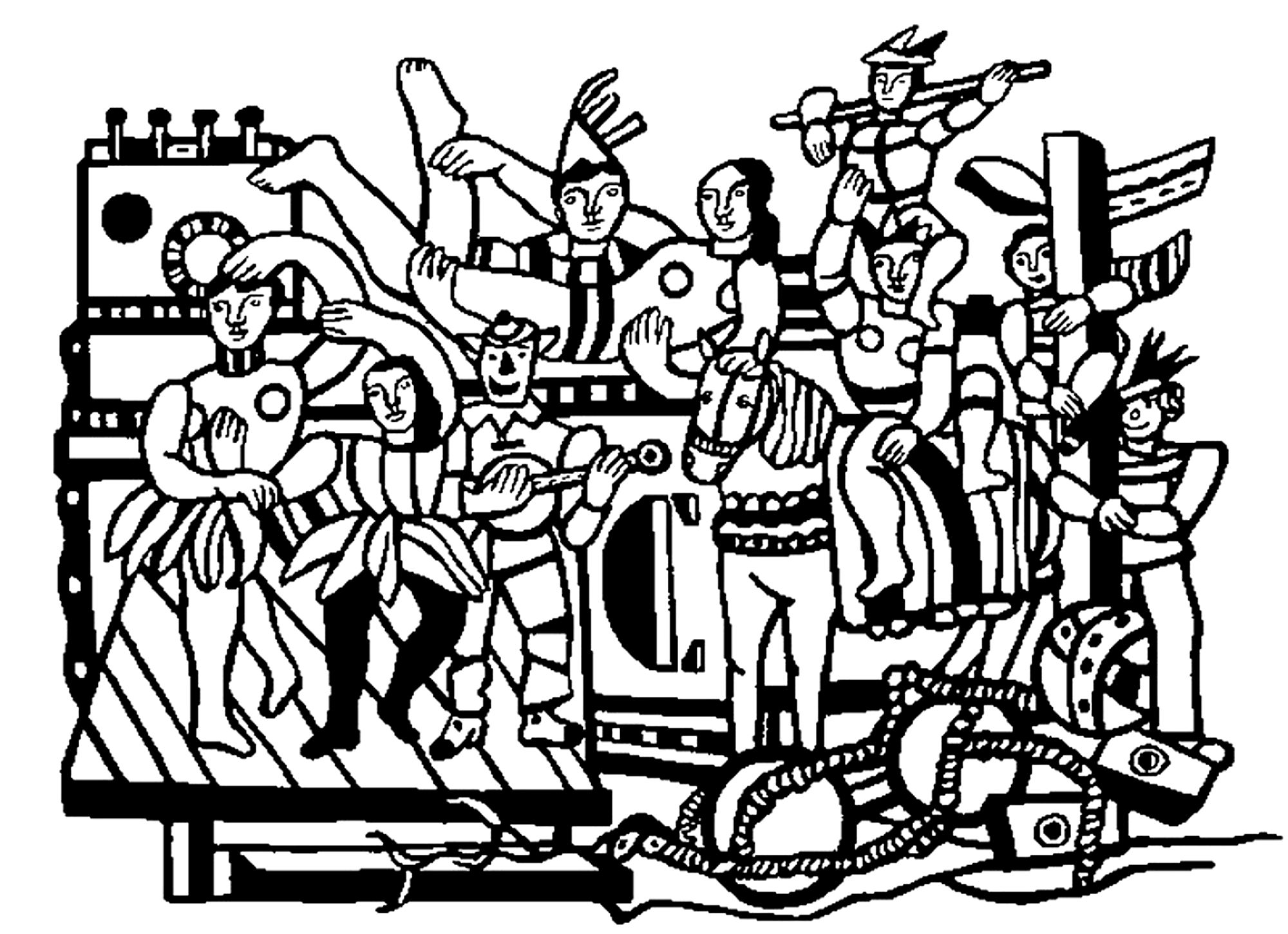 Coloring adult fernand leger the great parade