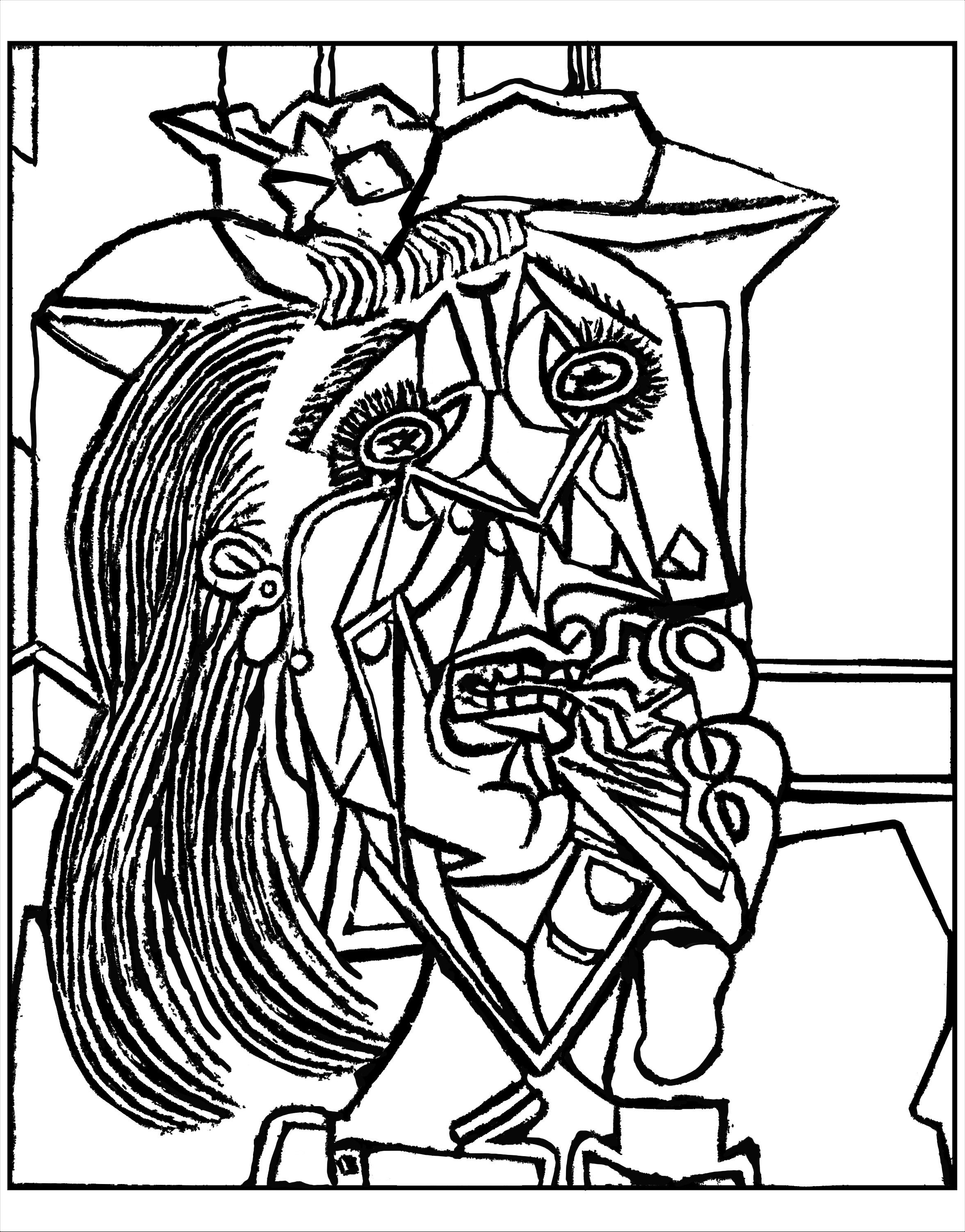 from picasso weeping woman 1937 master pieces coloring pages