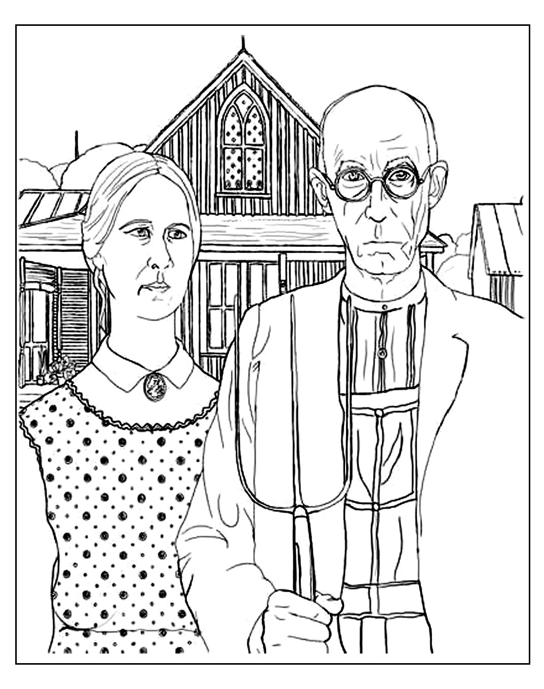 Coloring page for adult of American Gothic, the famous painting by Grant Wood, depicting the rural american midwest