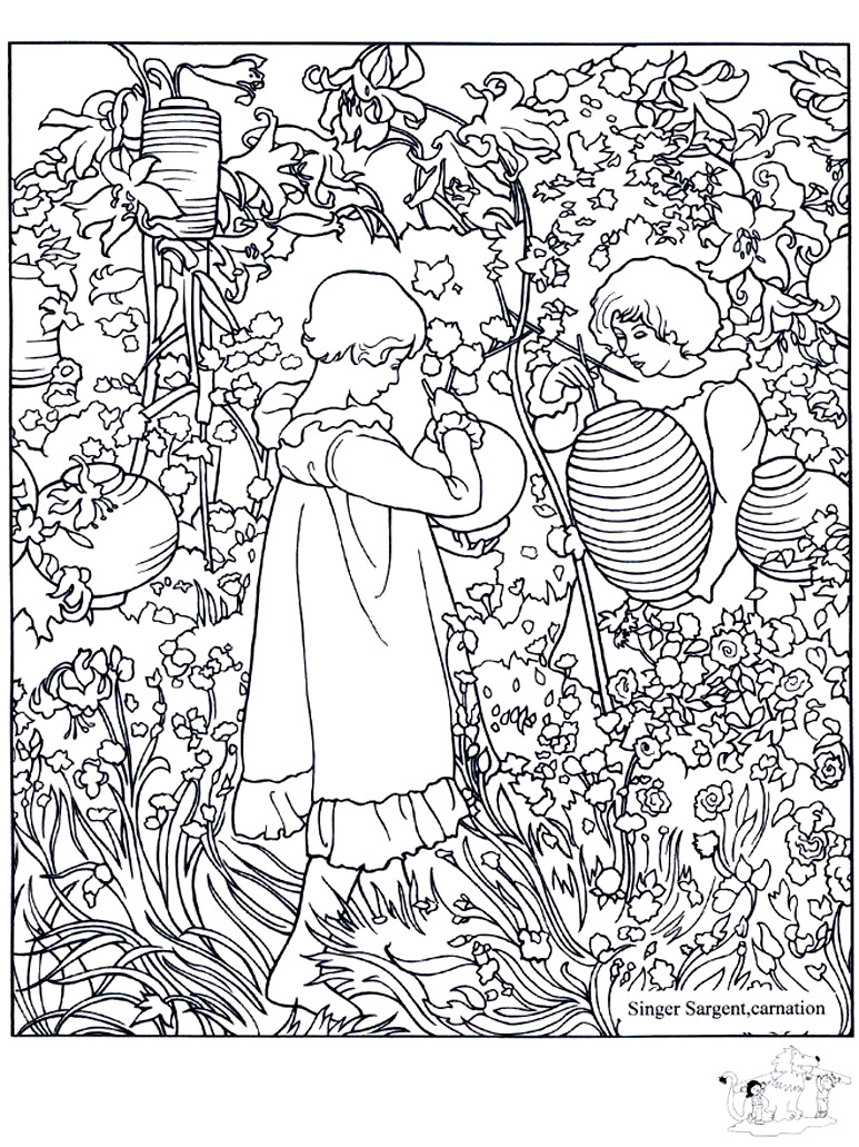 John singer sargent carnation lily lily rose for Coloring pages art masterpieces