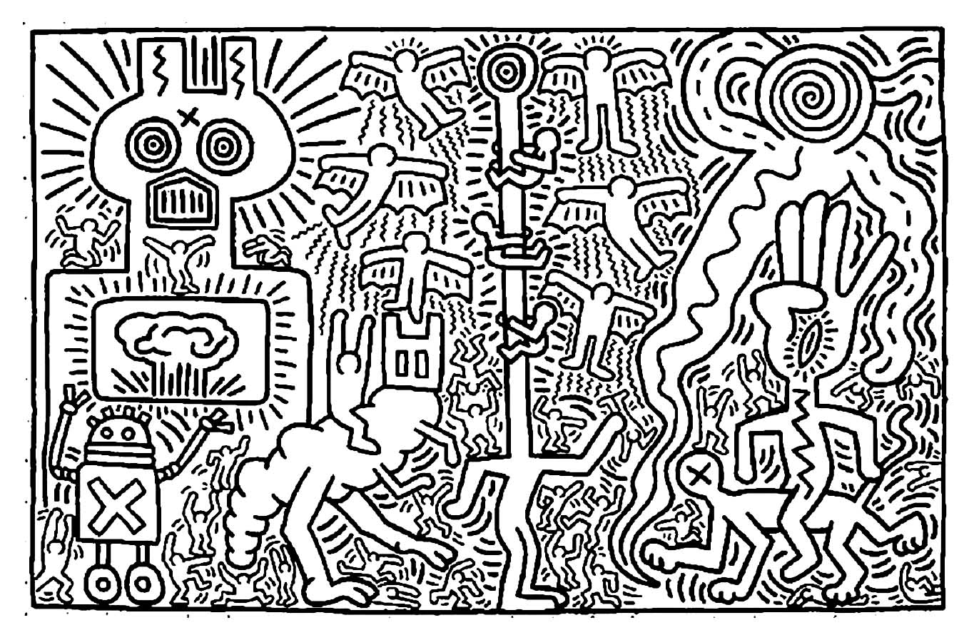 Uncategorized Keith Haring Coloring Pages keith haring 2 master pieces coloring pages for adults justcolor image with pop art artist from