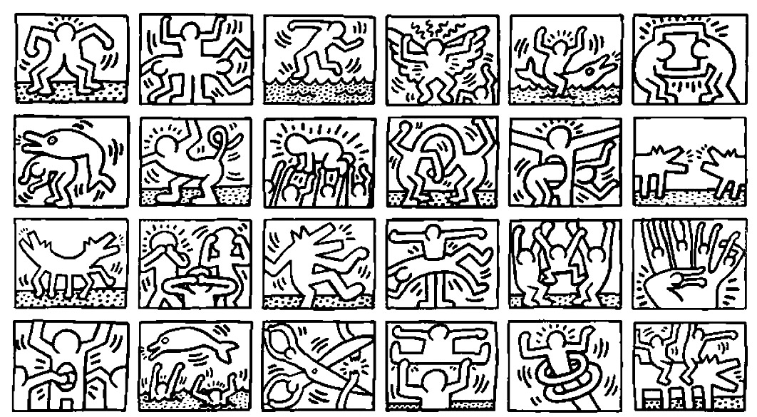 Keith haring 4 Master pieces Coloring pages for adults JustColor