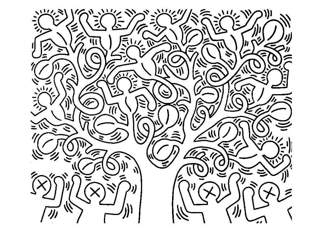 Uncategorized Keith Haring Coloring Pages keith haring 6 master pieces coloring pages for adults justcolor image with pop art artist from