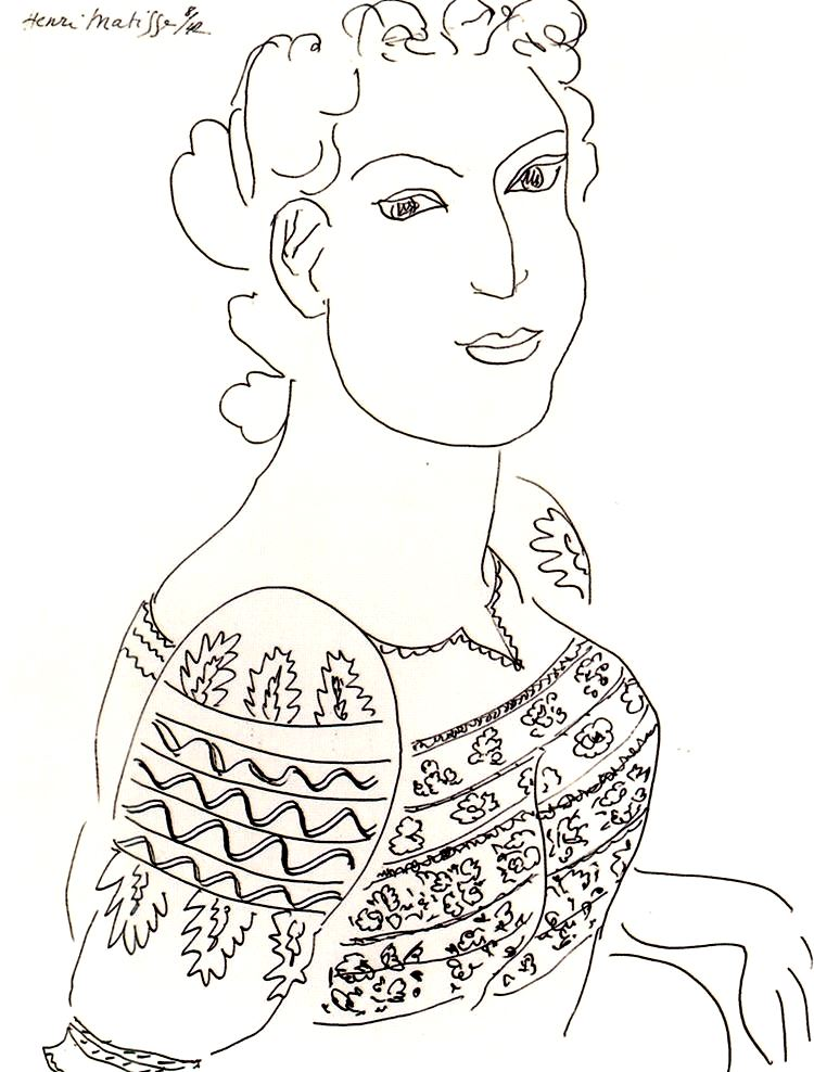 Drawing by Henri Matisse : The roumanian blouse - 1942