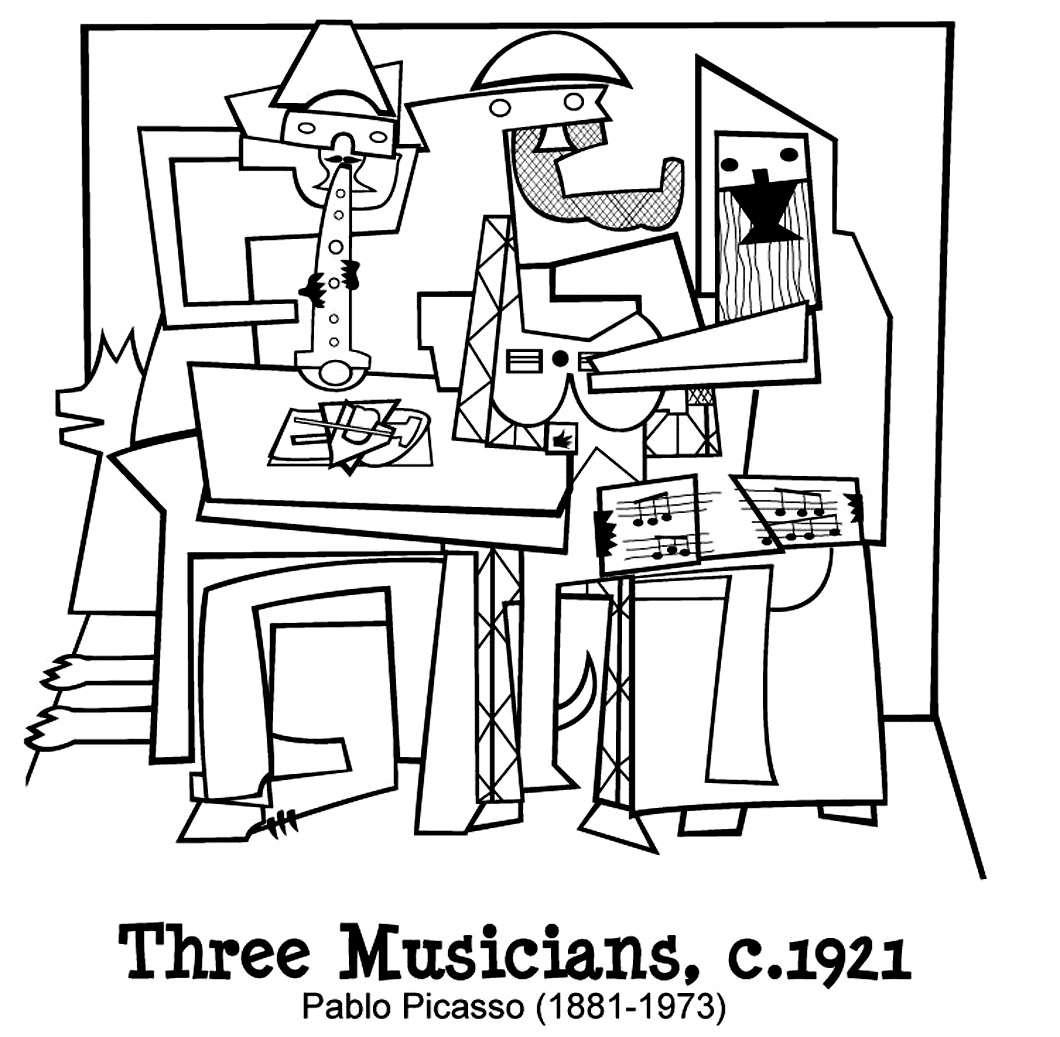 Coloring page created from the masterpiece 'Three musicians' by Pablo Picasso