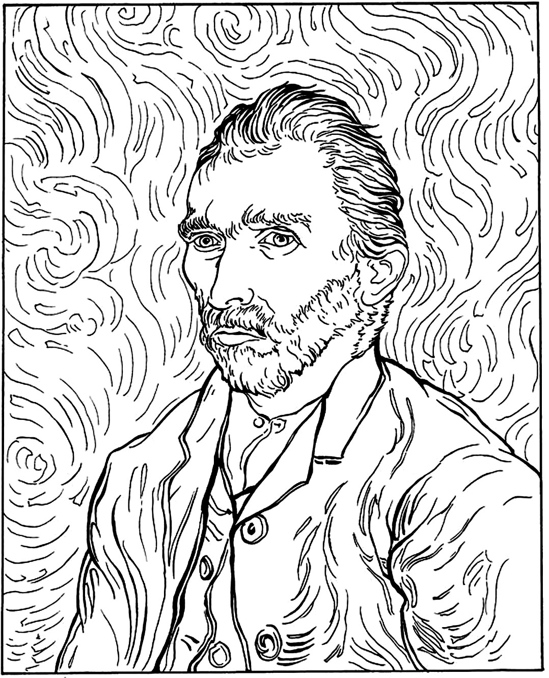 Van Gogh Coloring Pages Van Gogh Autoportrait  Masterpieces  Coloring Pages For Adults .