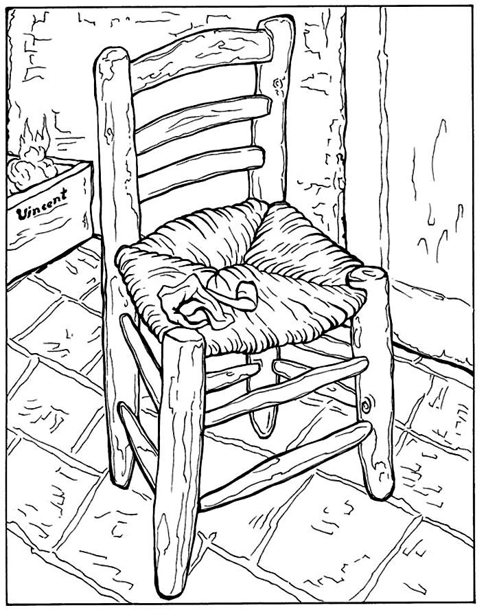 Van gogh la chaise et la pipe Master pieces Coloring pages for