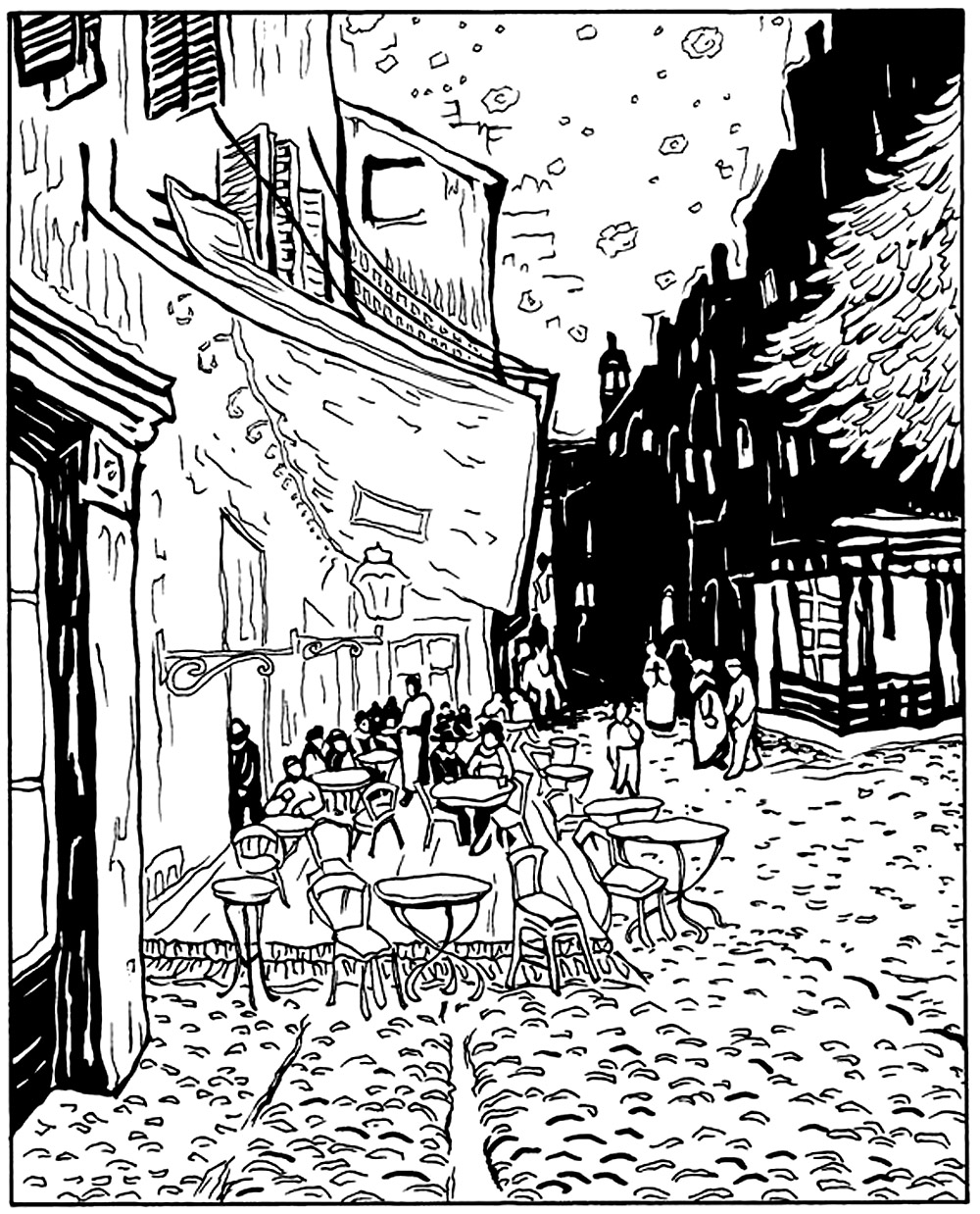 Coloring adult van gogh le cafe de nuit