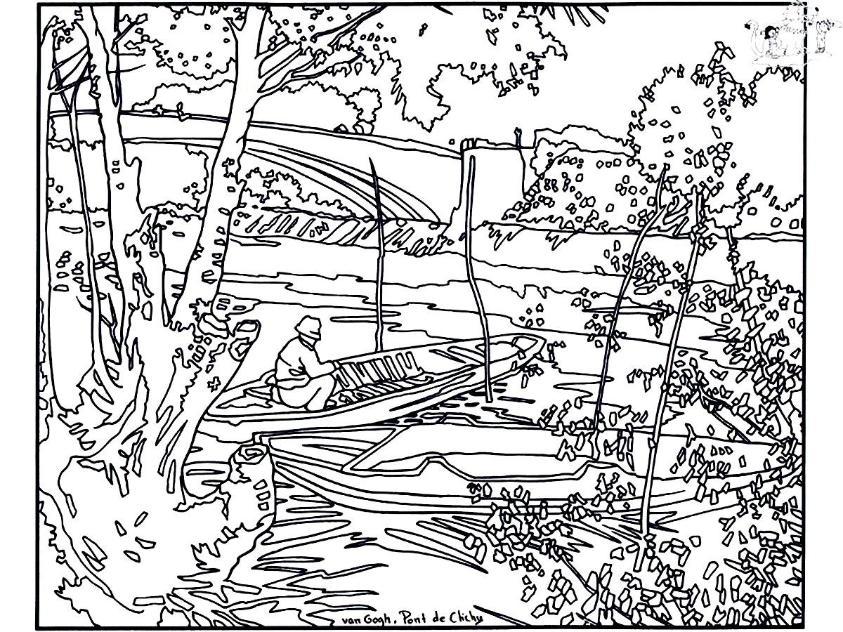 Van Gogh Pont De Clichy Masterpieces Adult Coloring Pages