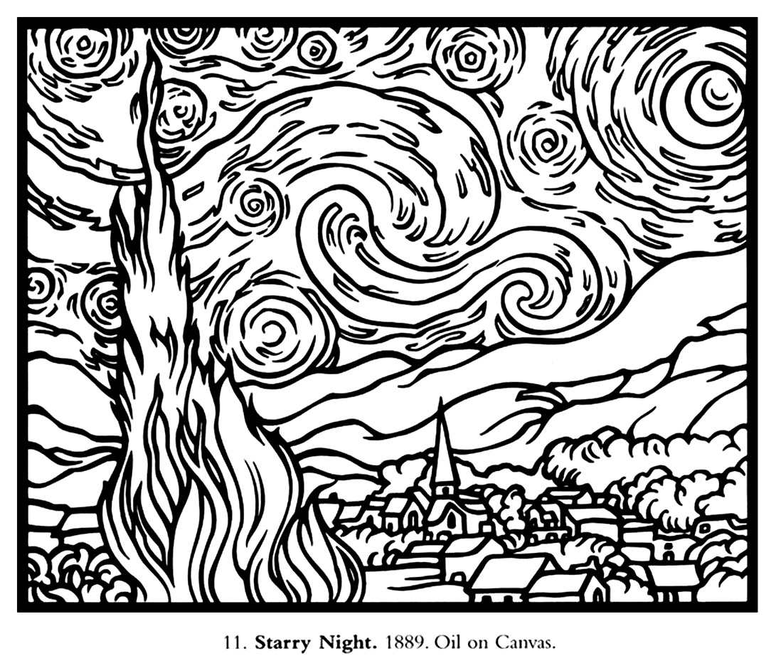 Van gogh starry night large Master pieces Coloring pages for