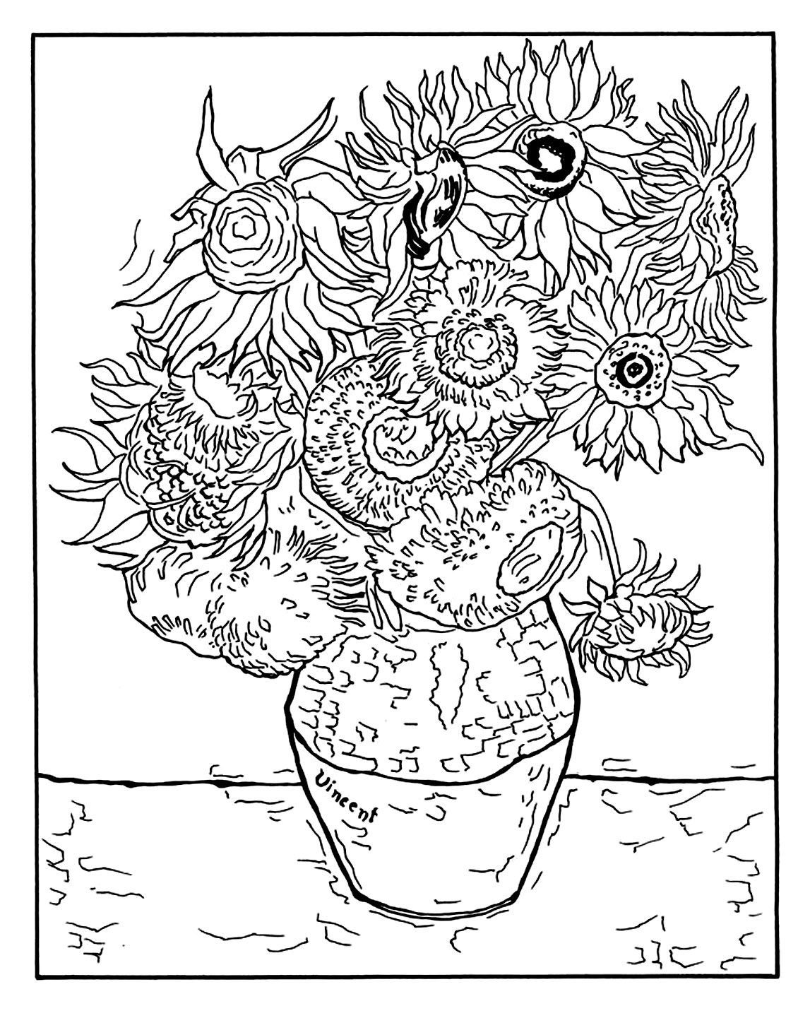 Coloring page created from 'Vase with Twelve Sunflowers' by Vincent Van Gogh