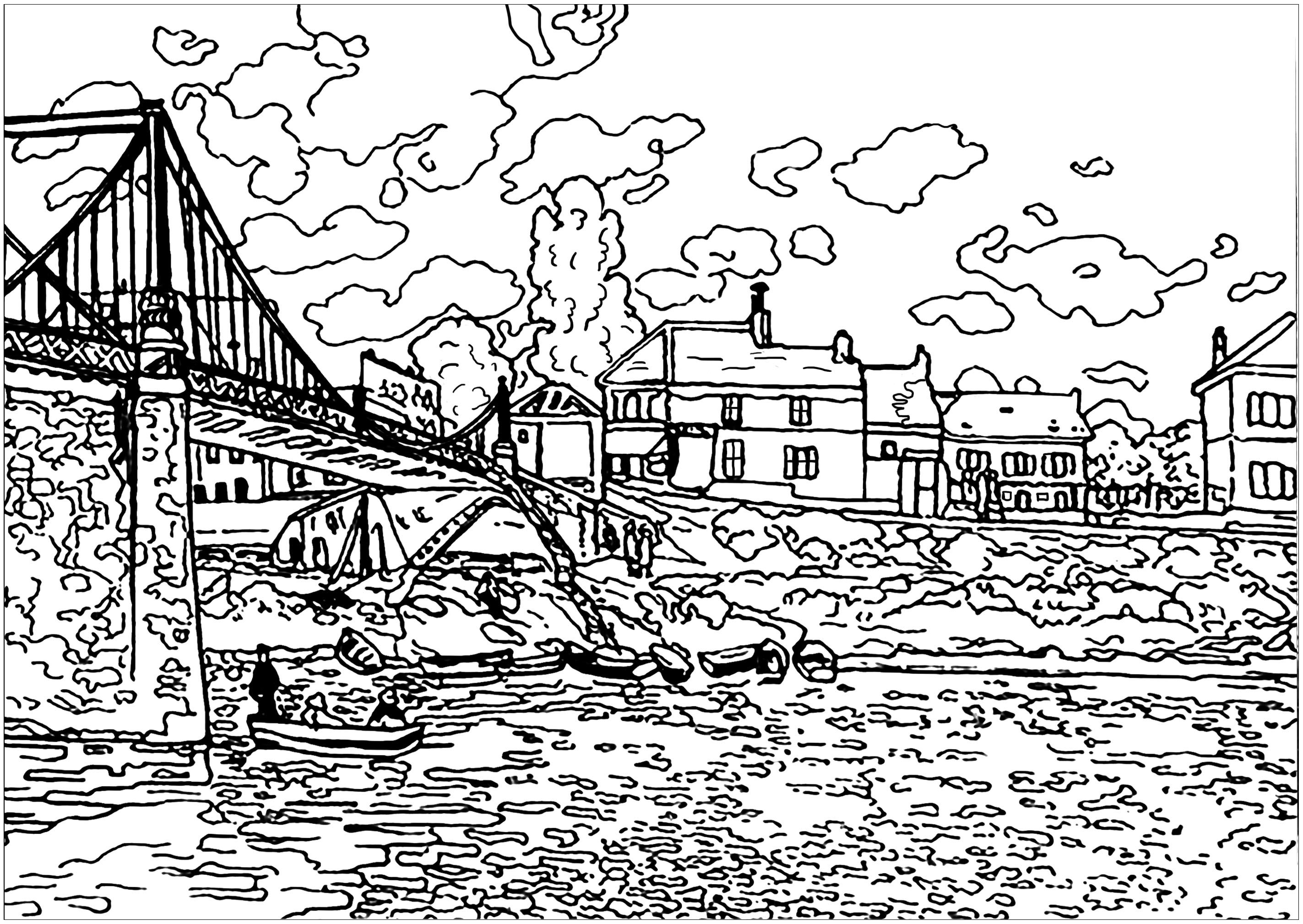 Coloring page created from a painting by Alfred Sisley, famous French Impressionist landscape painter