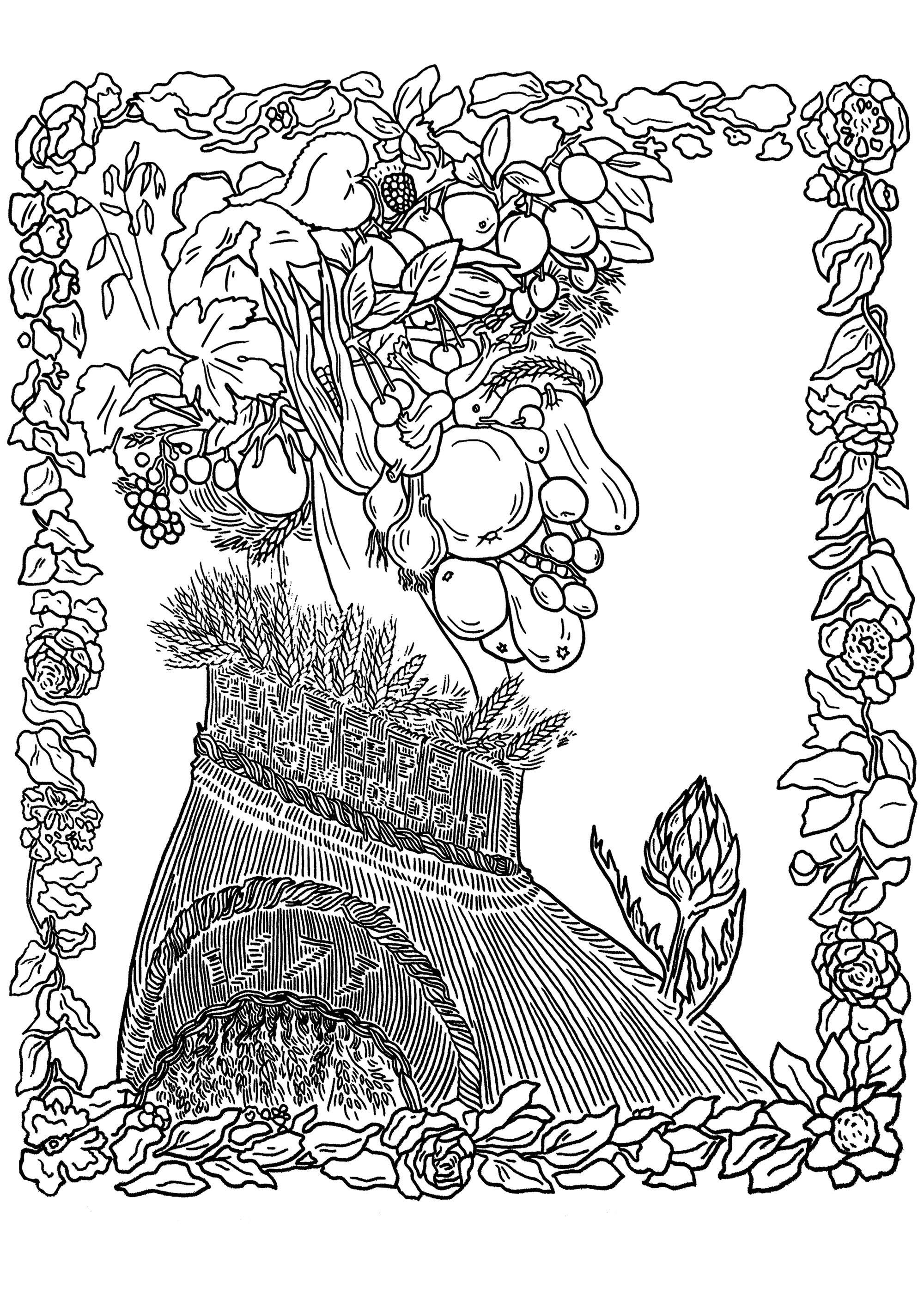 Coloring page giuseppe arcimboldo summer a portrait head made entirely of fruits vegetables and flowers by giuseppe arcimboldo