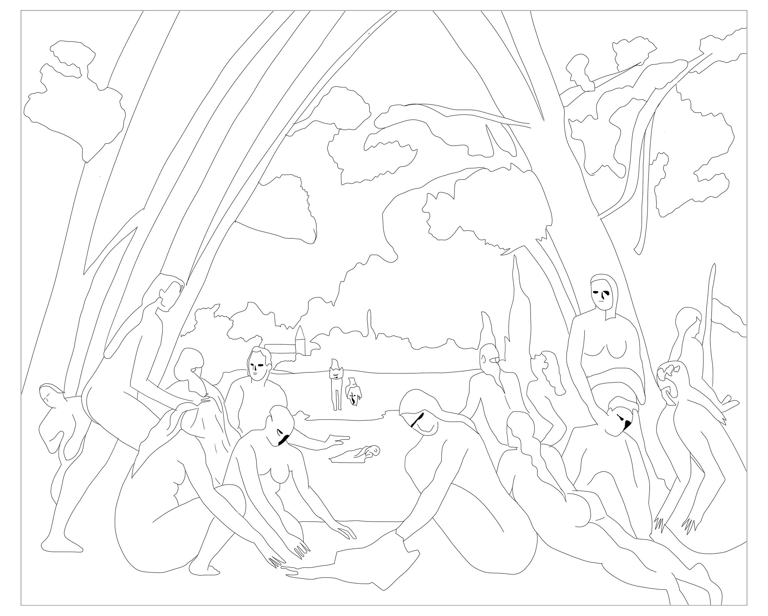 Coloring page inspired by 'Les Grandes Baigneuses' by Paul Cezanne