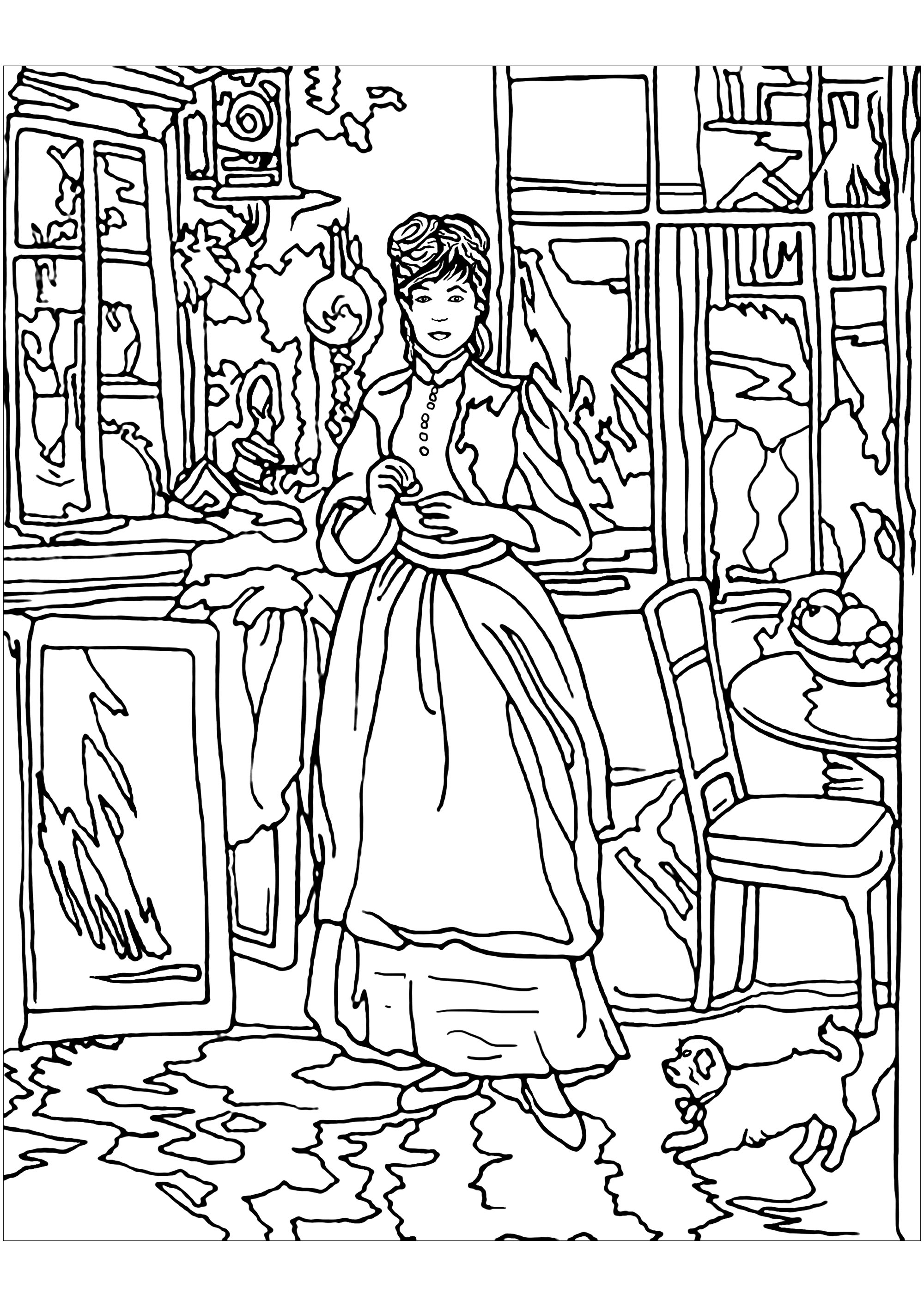 Coloring page inspired by a work by Impressionist painter Berthe Morisot : In the dinning room. Morisot's paintings reveal aspects of feminine life in the late nineteenth century, even private, intimate moments generally closed to male counterparts.