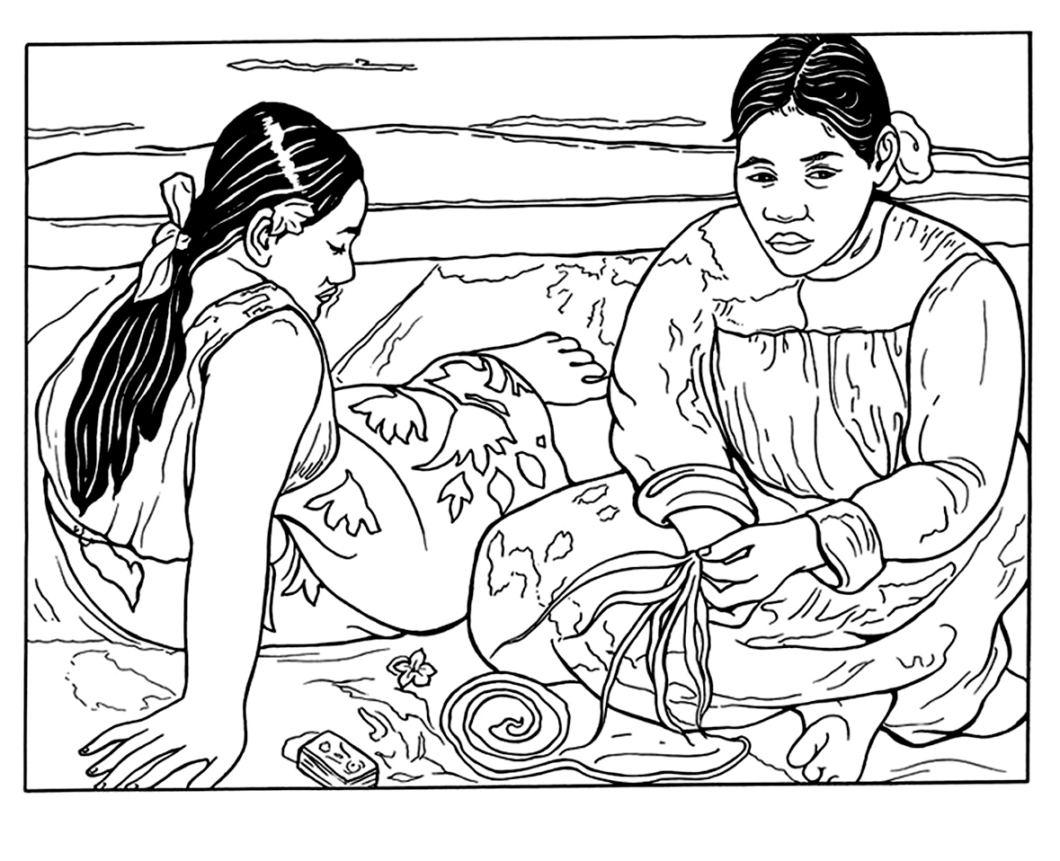 Adult coloring page inspired by a painting by Paul Gaughin representing Tahitian women