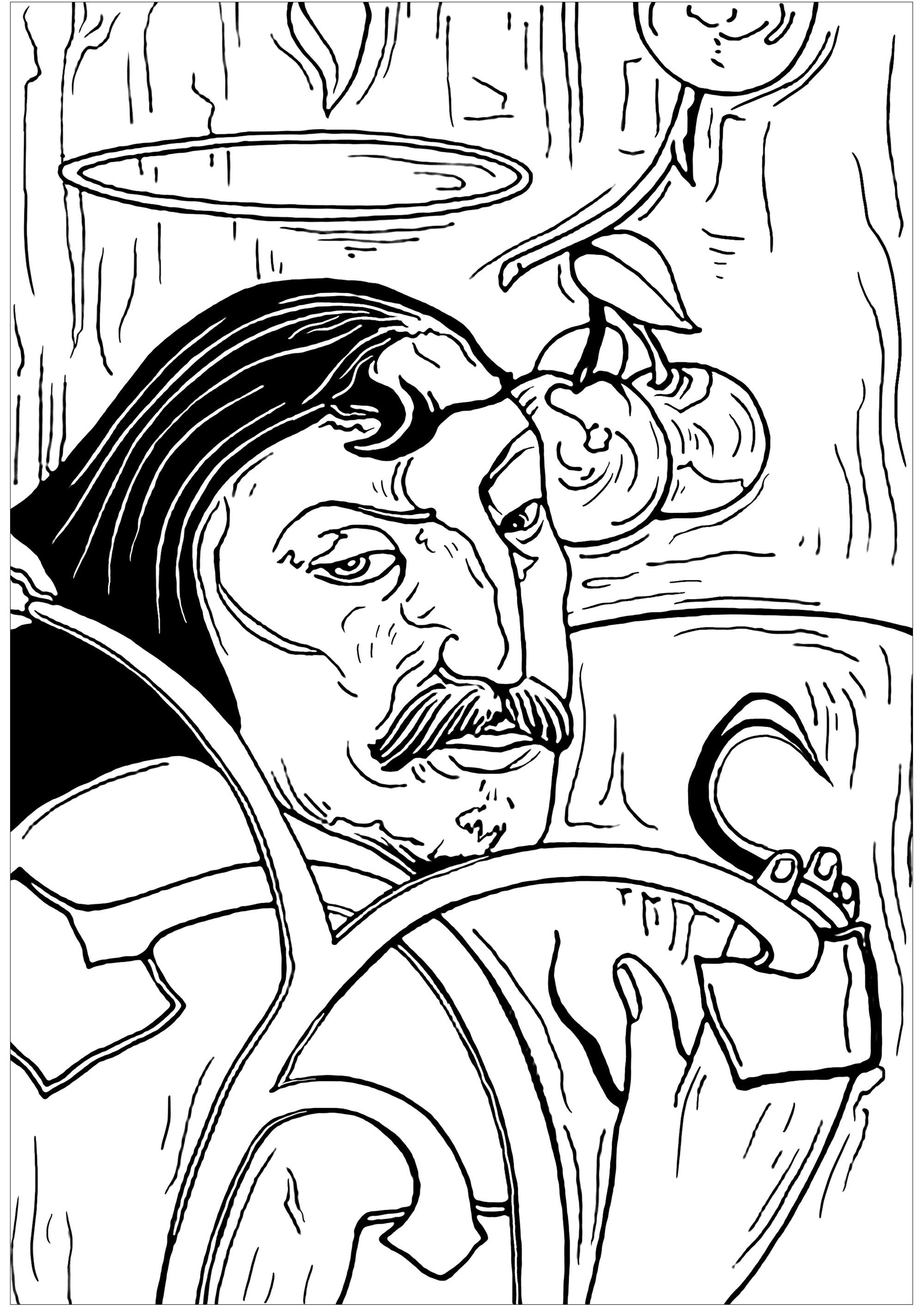 Coloring page inspired by a self-portrait by artist Paul Gauguin : Self-Portrait with Halo