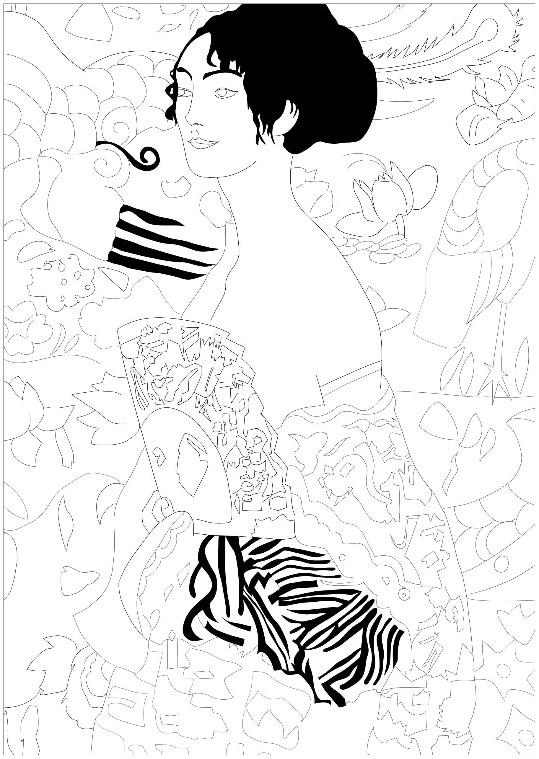 Coloring page inspired by a master piece by Gustav Klimt : Lady with fan